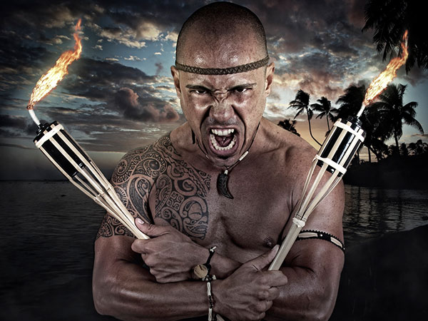 Tattooed Samoan Warrior