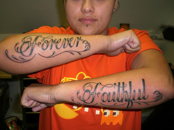 forever faithful 25 Tattoo Lettering Styles That Will Take Your Breath Away
