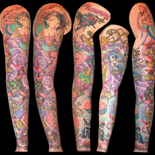 Girly Sleeve Tattoo