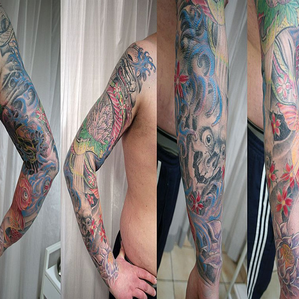 Catchy Japanese Sleeve Tattoo