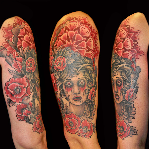 Lady  & Poppies Tattoo