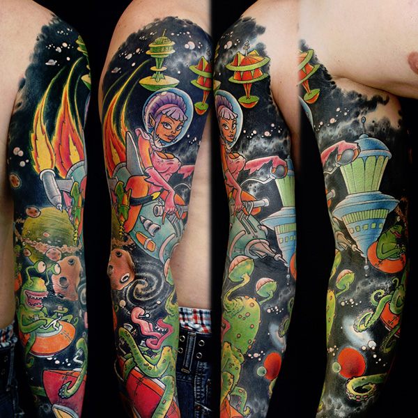 Cute Colorful Sleeve Tattoo