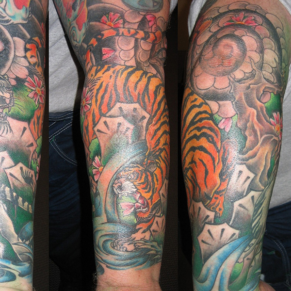 Tiger Sleeve Tattoo
