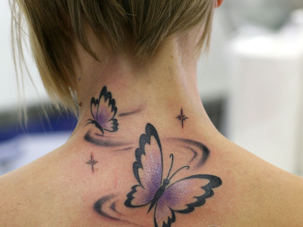 butterfly 24 Elegant Back of Neck Tattoos