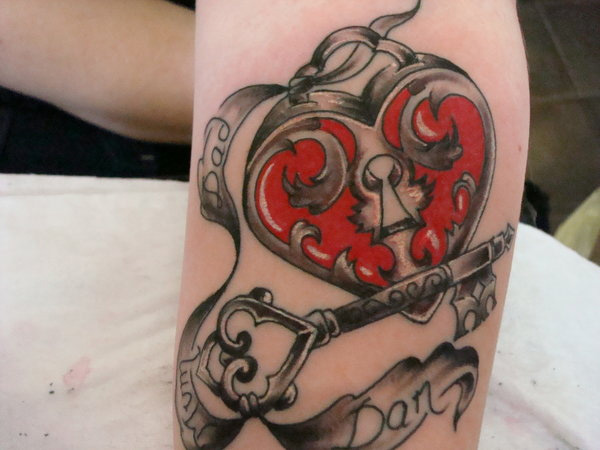 Red Heart With Key Tattoo