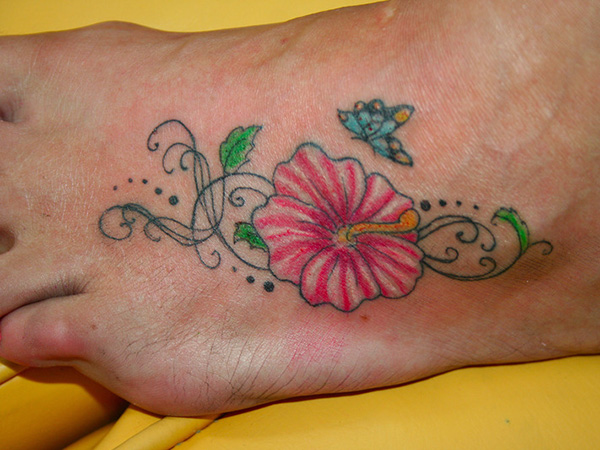 Hibiscus Tattoo With Butterfly