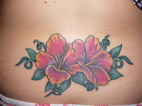 Lower Back Flower Tattoos: 27 Colorful Hibiscus Flower Tattoos