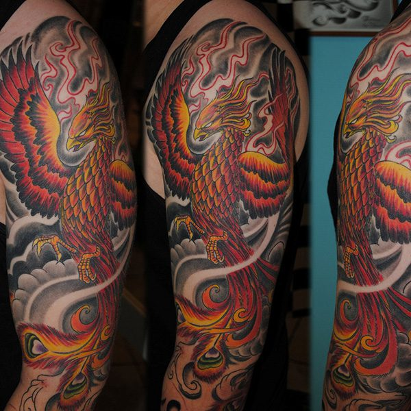 Phoenix Full Sleeve Tattoo