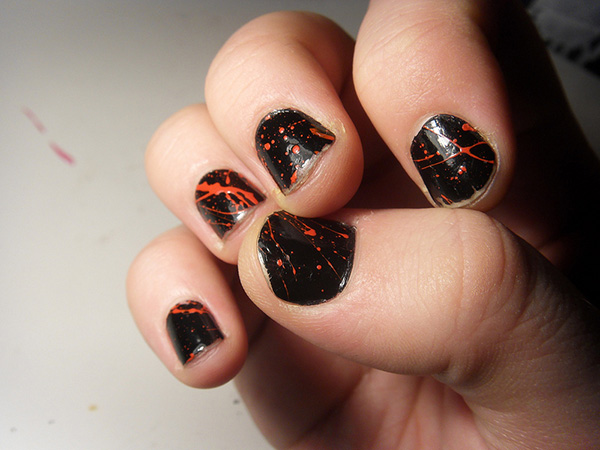 blood splatter nail 26 Delicate Short Nail Designs