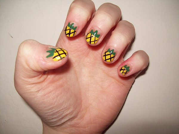 pineapple themed nail 26 Delicate Short Nail Designs