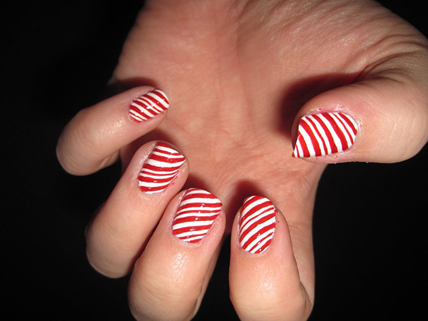 candy cane nail art 29 Enthusiastic Simple Nail Art Ideas