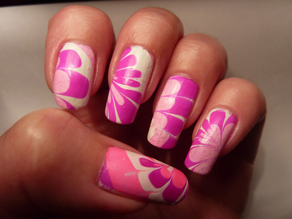 water marble nail art 29 Enthusiastic Simple Nail Art Ideas