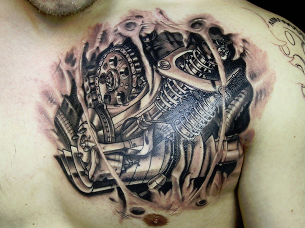 broken skin tattoo 27 Incredible Steampunk Tattoo Idea Collection