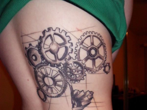 side steampunk tattoo 27 Incredible Steampunk Tattoo Idea Collection