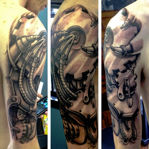 steampunk half sleeve tattoo 27 Incredible Steampunk Tattoo Idea Collection