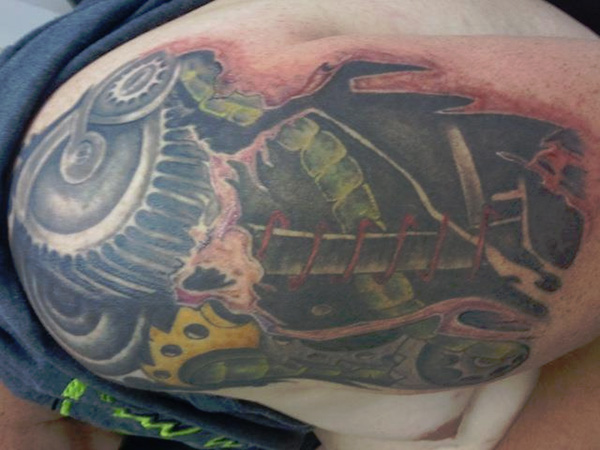 steampunk inspired shoulder tattoo 27 Incredible Steampunk Tattoo Idea Collection