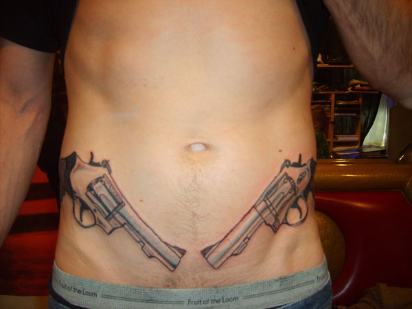 gun 26 Original Stomach Tattoos For Men