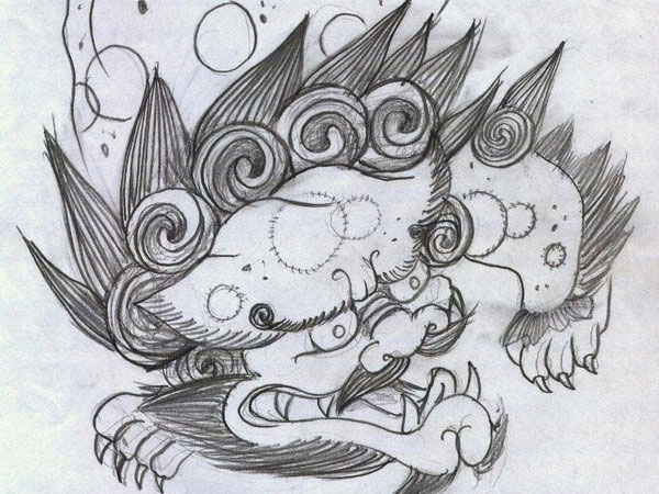 japonese dog 34 Magical Tattoo Drawings