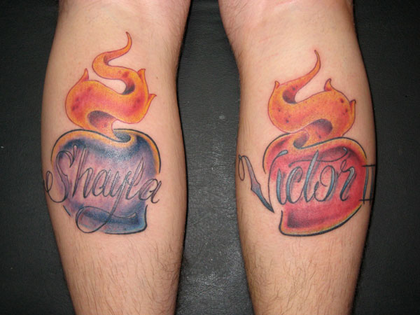 Fire Tattoo With Name