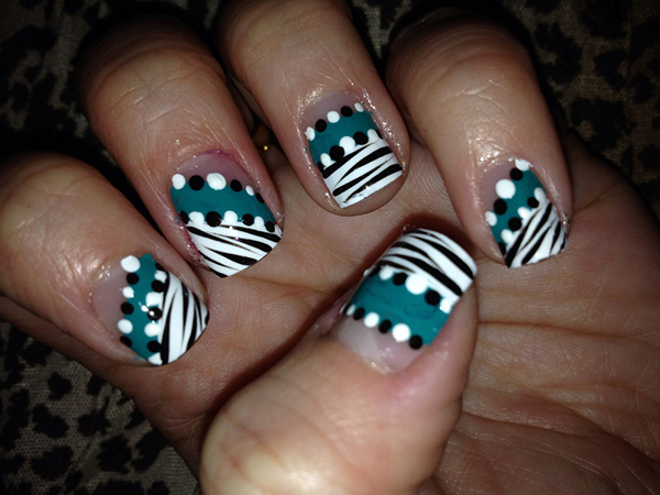 black zebra poka dots design 27 Tantalizing Zebra Nail Designs