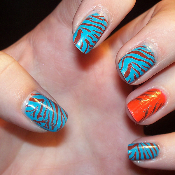 bright wild 27 Tantalizing Zebra Nail Designs