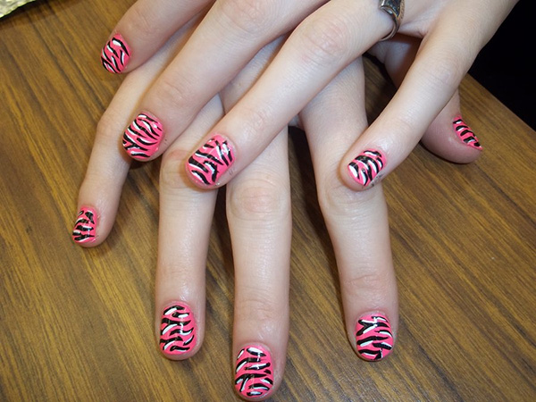 pink black zebra nails 27 Tantalizing Zebra Nail Designs