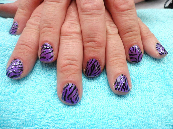 purple zebra full hand 27 Tantalizing Zebra Nail Designs