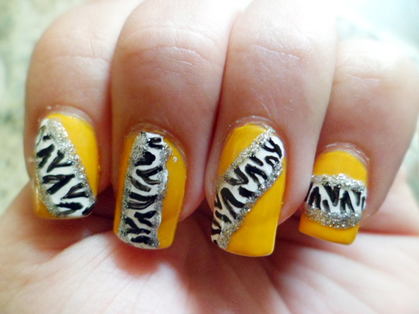 yellow zebra nail art 27 Tantalizing Zebra Nail Designs
