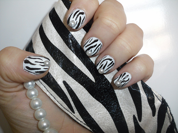 Zebra Nails With Beads