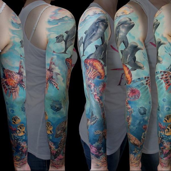 Ocean Half Sleeve Tattoo
