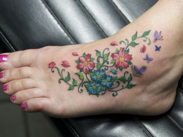Cascading Floral Tattoo