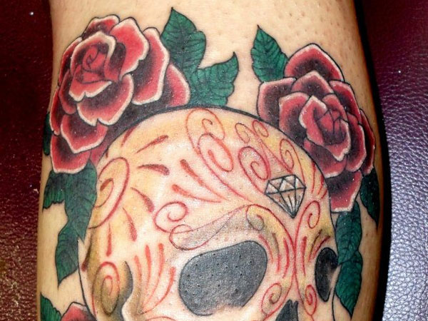 Sugar Skull and Roses Tattoo
