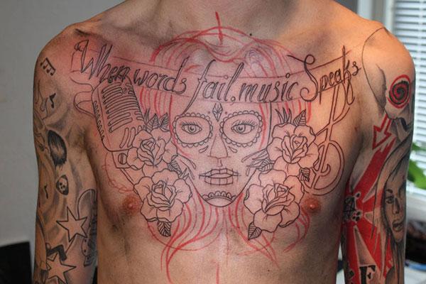 Chest Music Tattoo