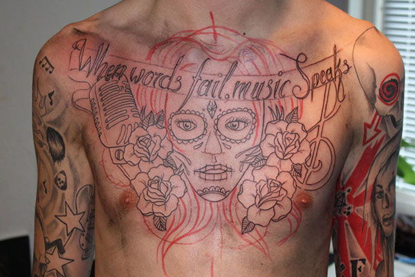 Music Chest Tattoo Ideas Chest Music Tattoo