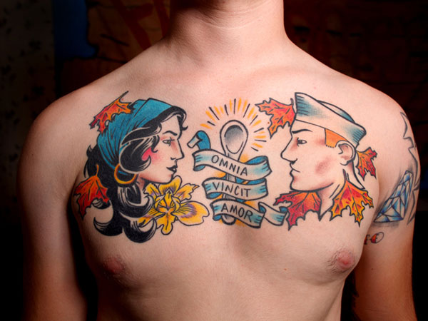 Cute Colorful Chest Tattoo