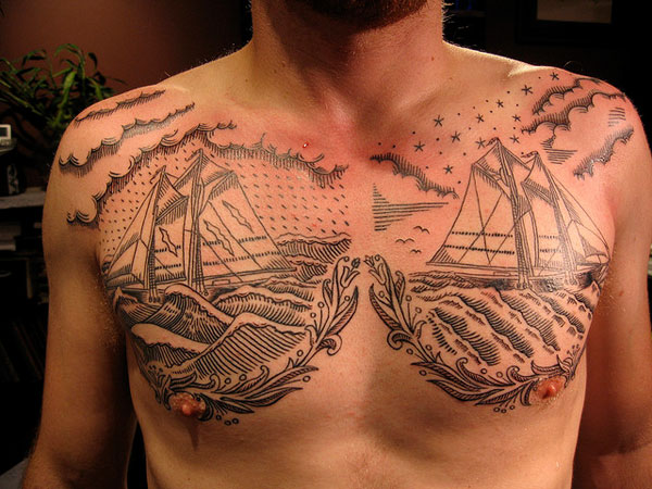 Detailed Chest Tattoo