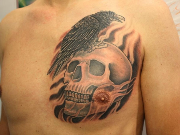 skull 37 Exceptional Chest Tattoos For Men