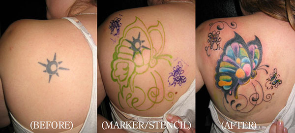 butterfly cover up 28 Graceful Cover Up Tattoo Ideas