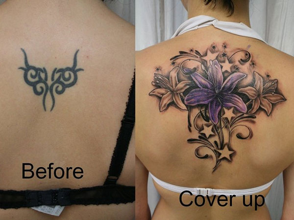 cover up flowers stars color 28 Graceful Cover Up Tattoo Ideas