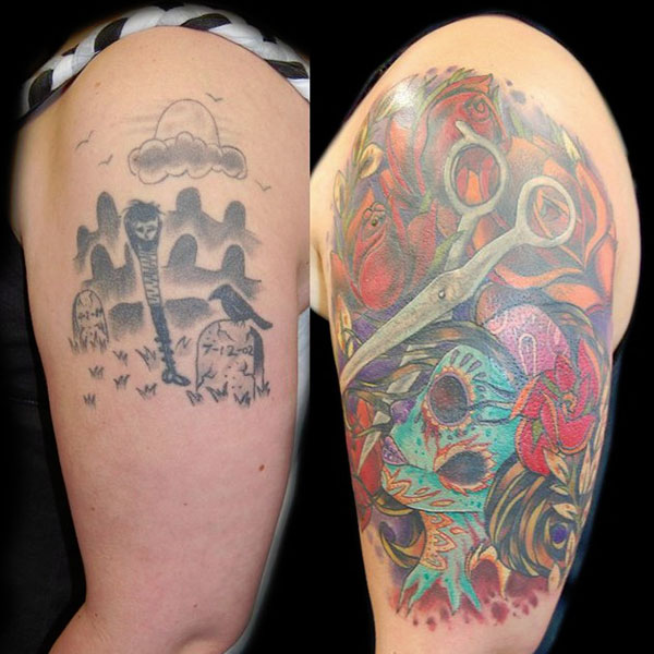 cover up graveyard 28 Graceful Cover Up Tattoo Ideas