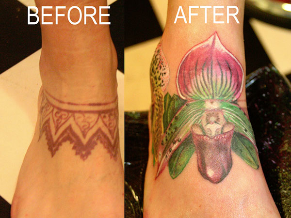 cover up orchid flower 28 Graceful Cover Up Tattoo Ideas