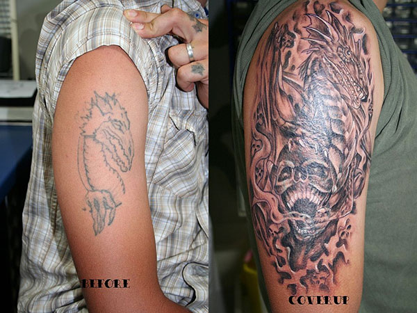 dragon skull cover up tattoo 28 Graceful Cover Up Tattoo Ideas