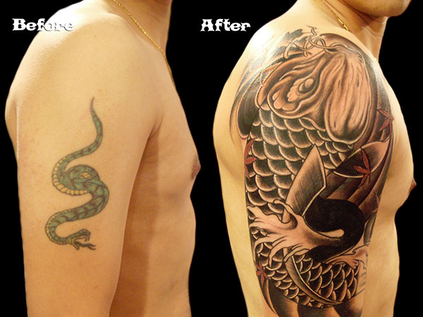 koi fish tattoo cover up 28 Graceful Cover Up Tattoo Ideas