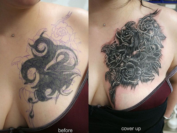 rose new cover up tattoo 28 Graceful Cover Up Tattoo Ideas