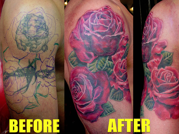 roses tattoo cover 28 Graceful Cover Up Tattoo Ideas