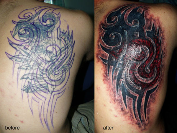 tribal cover up 28 Graceful Cover Up Tattoo Ideas