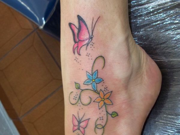 Butterfly Tattoo With Flowers