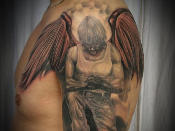 good 24 Compelling Fallen Angel Tattoo