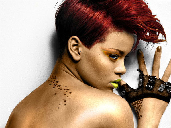 Rihanna Starry Back Tattoo