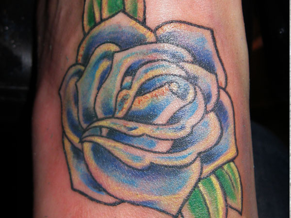 Blue Freedom Rose Tattoo